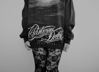 sweater parkwaydrive band jumper tumblr black and white stockings shirt cool clothes perfect shoes band t-shirt black skirt pullover tights floral tights pants