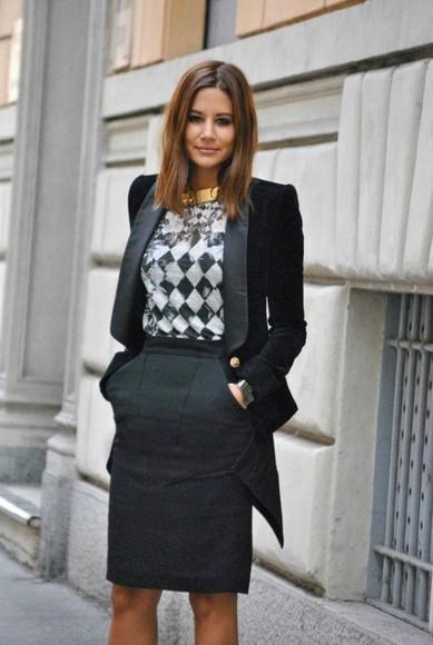 jacket blazer skirt choker necklace