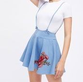 dress,girly,skirt with suspenders,suspenders,denim,embroidered