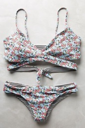 swimwear,flowers,stripes,bikini,bikini top,bikini bottoms,strappy,grey,floral,cute,pink,blue,striped bikini,strappy bikini,pretty,summer