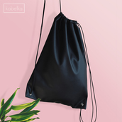 bag,leather,vegan leather,black bag,drawstring bag,backpack