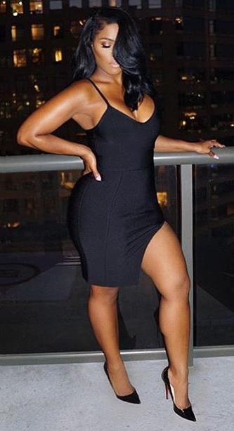 Side Slit Bandage Dress Black