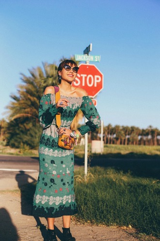 natalie off duty blogger dress sunglasses bag shoes green dress midi dress crossbody bag ankle boots spring outfits