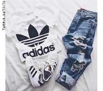 t-shirt white crop tops adidas