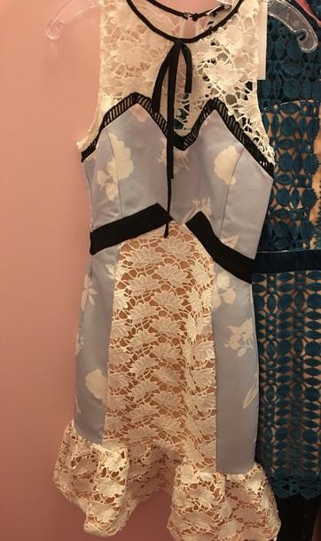dress blue california paris tie lace white black white dress