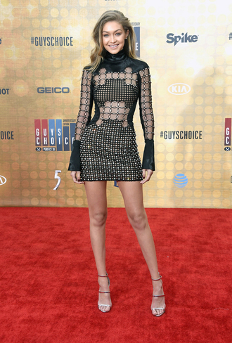 dress gigi hadid celebrity red carpet model black dress mini dress sexy dress sandals silver sandals high heel sandals hairstyles mesh dress