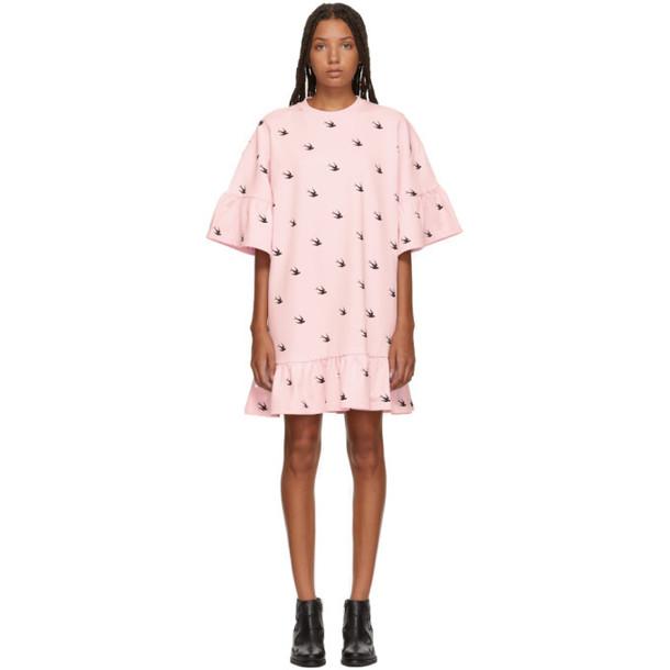 McQ Alexander McQueen Pink Mini Swallow Ruffled T-Shirt Dress