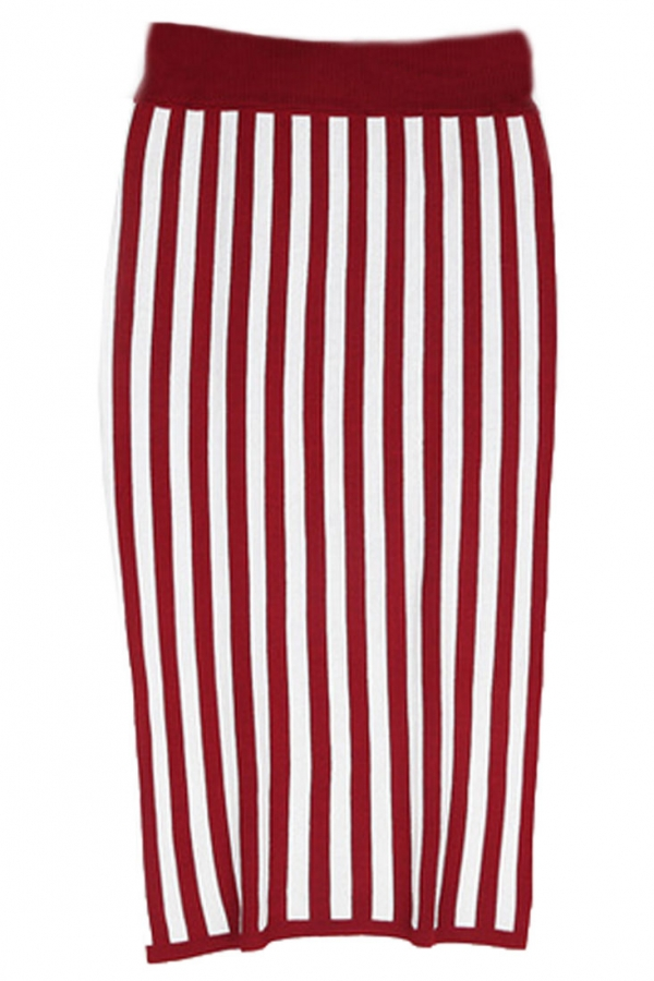 Vertical Stripe Bodycon Knit Skirt - OASAP.com