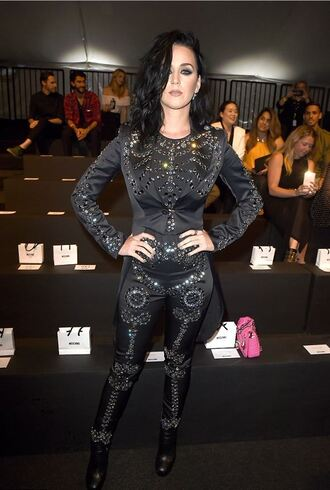 pants top all black everything katy perry black jumpsuit jumpsuit embellished blazer moschino grunge