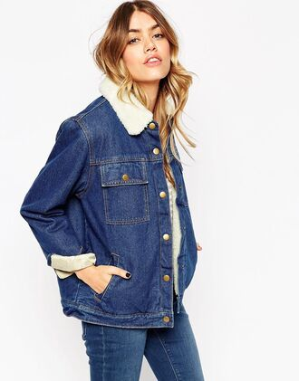 jacket blue jeans aviator sunglasses oversized outfit denim asos outfit idea fall outfits oversized jacket denim jacket