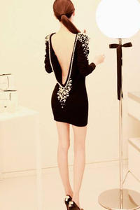 Black slim fit open back asian fashion pearls decorated evening dress