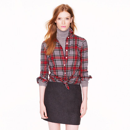 shirt in grey tartan - casual shirts - Women's shirts & tops - J.Crew