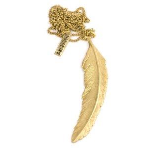 81stgeneration Jahrgang Messing Gold Feder-Anhänger lange Halskette: Amazon.de: Schmuck
