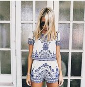 shorts,blue,boho,indie,beach,lovely,jumpsuit,set,white,romper,two pie outfit,blue and white two piece,tshirt nd short two piece,tribal pattern,summer