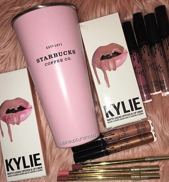 home accessory starbucks coffee pink mug kawaii girly cute make-up makeup brushes
