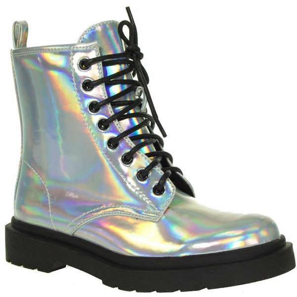 Silver hologram lace up ankle boots - Spot On - Polyvore