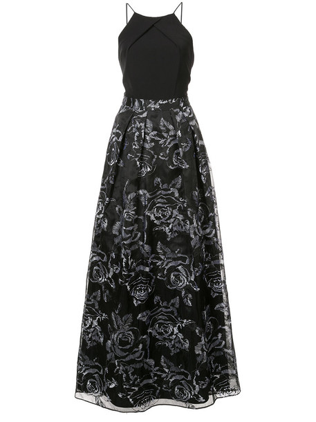 Aidan Mattox gown embroidered women spandex floral black dress