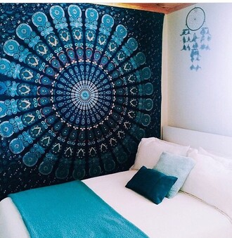 home accessory mandala tapestry mandala wall make-up wall tapestry blue art wall decor room accessoires rooms tumblr cute