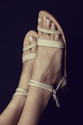 nude sandals flat sandals shoes leather