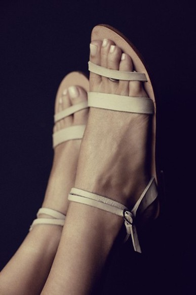 shoes nude sandals leather flat sandals