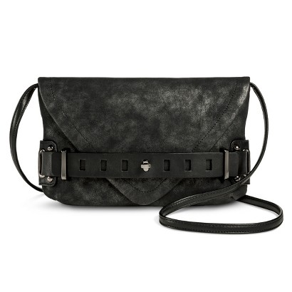 Women's Metallic Clutch Handbag with Removable Strap - Black