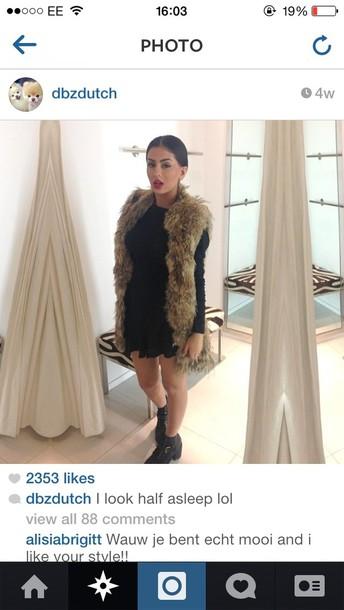 coat fur gilet brown