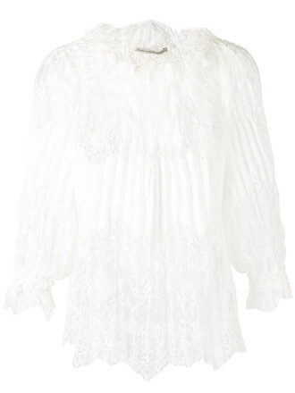 blouse pleated women lace white top
