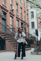gracefullee made,blogger,top,pants,bag,scarf,sunglasses,jewels,shoes,make-up