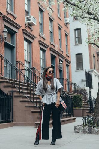 gracefullee made blogger top pants bag scarf sunglasses jewels shoes make-up