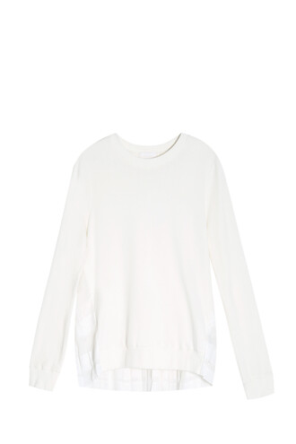 sweater pleated back white