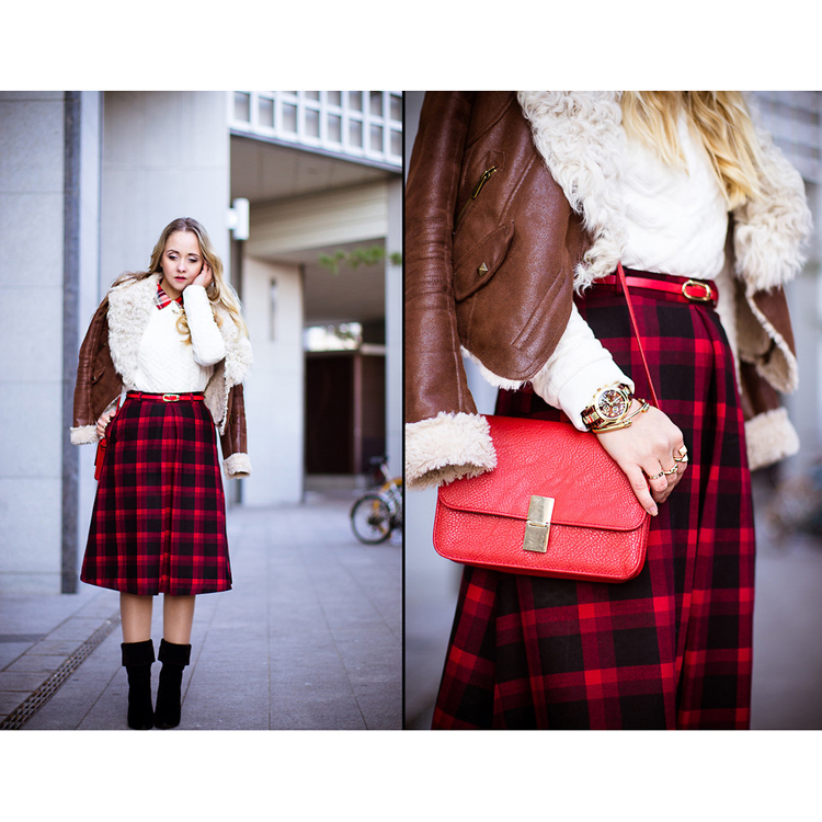 Plaid Check Midi Skirt - Retro, Indie and Unique Fashion