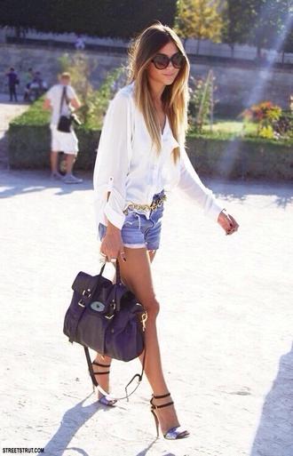 jeans clothing shirt blouse shorts white blue heels bag purse sunglasses shoes black chiffon chiffon blouse