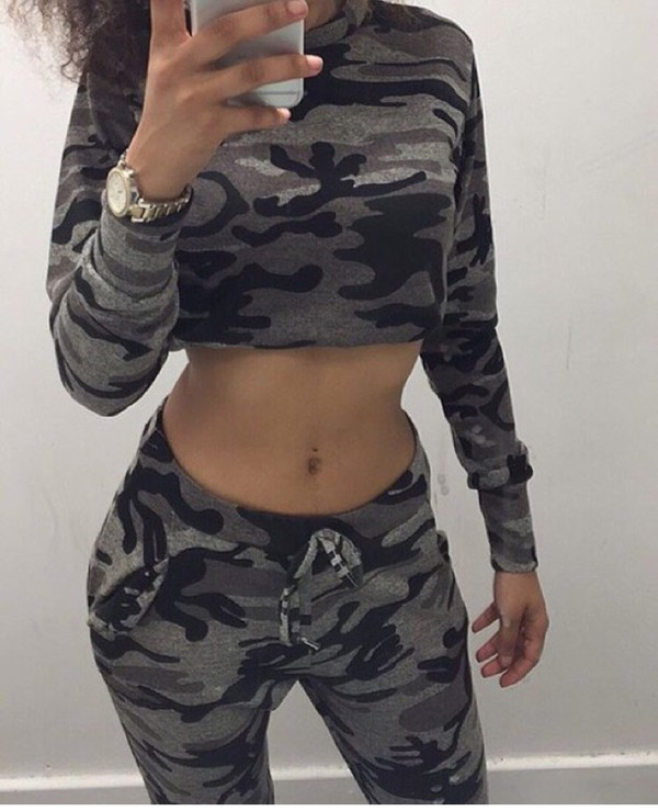 e9944f2f1a538 New Ladies Womens Leopard Army Camo Print Jogging Tracksuit Bottoms ...