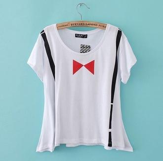 t-shirt white women t shirts bowtie straps