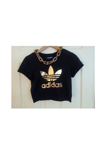 shirt black adidas shirt t-shirt gold black adidas crop tops top