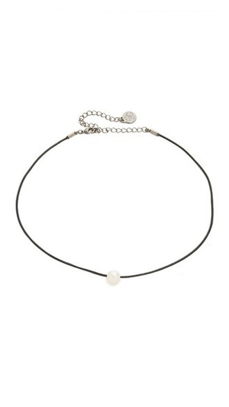 pearl necklace choker necklace leather white black jewels