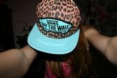 hat,baseball cap,leopard print,vans