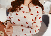 sweater,heart,valentines day,love,white,red,girl,white sweater,heart sweater,cozy,long sleeves,dress