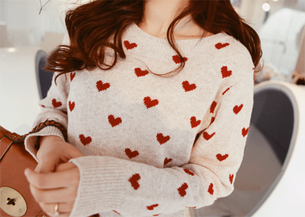 sweater heart valentines day love white red girl white sweater heart sweater cozy long sleeves
