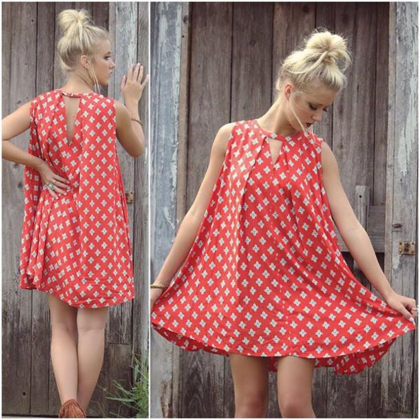 Dress Amazing Lace Swing Dress Red Pattern Printed Dress Flowy Impressive Swing Dress Pattern