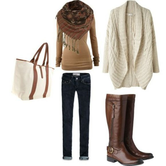 winter outfits winter boots cardigan sweater boots jeans bag scarf long sleeve shirt