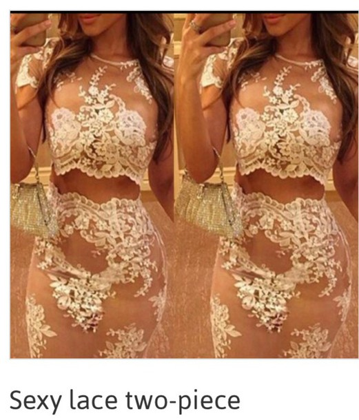 dress lace 2 piece dress