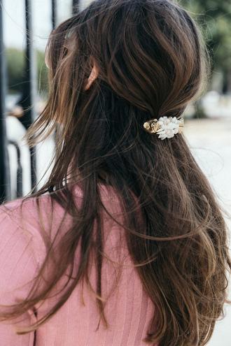 hair accessory tumblr hair hairstyles brunette long hair hair clip