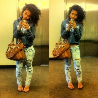 jeans hoodie sandals bag india westbrooks ripped light blue brown india westbrooks jacket
