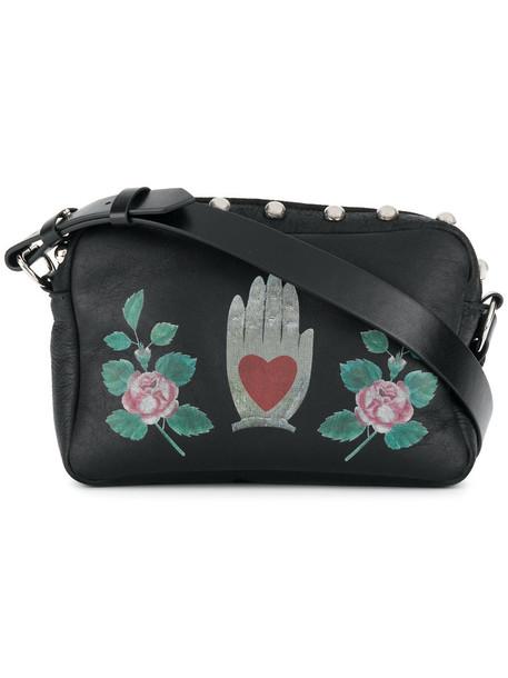 studded women bag crossbody bag print black