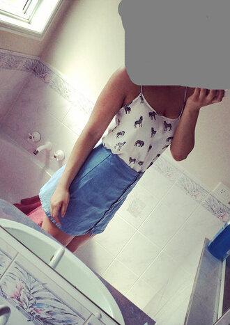 denim skirt zebra print animal print white top cute boho boho chic shirt