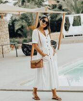 dress,white dress,summer,sunglasses,slide shoes,ba,bag
