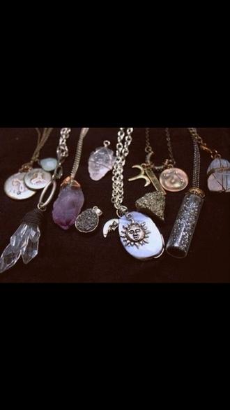 jewels necklace sun moon jewelry bohemian boho hippie crystal
