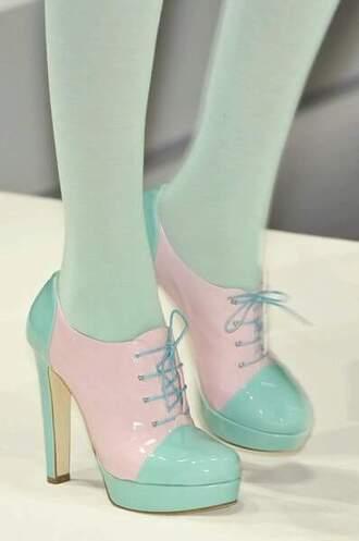 shoes pastel goth pastel heels cute high heels heels cute pastel feiry fairy lolita mint pink blue tie
