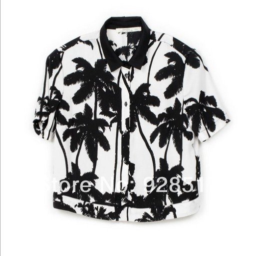 2014 new summer fashion hot women clothing blouses casual ladies plus size tops Slim Stitching wild palm print shirt-in Blouses & Shirts from Apparel & Accessories on Aliexpress.com